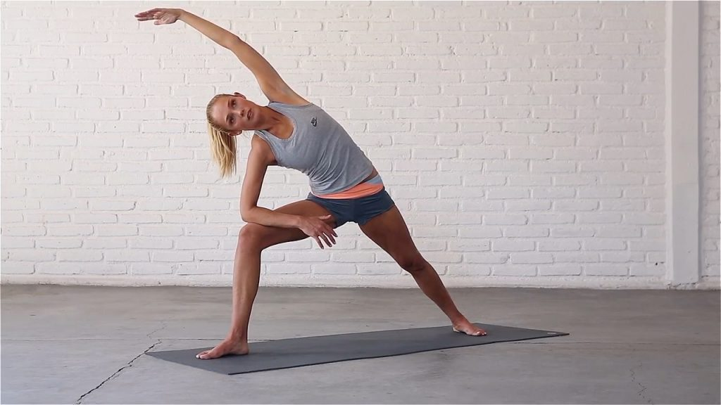 Extended Side Angle pose improves shoulder flexibility.