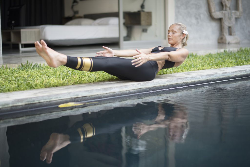 Low Boat is a core strengthener that targets the lower abdominals.