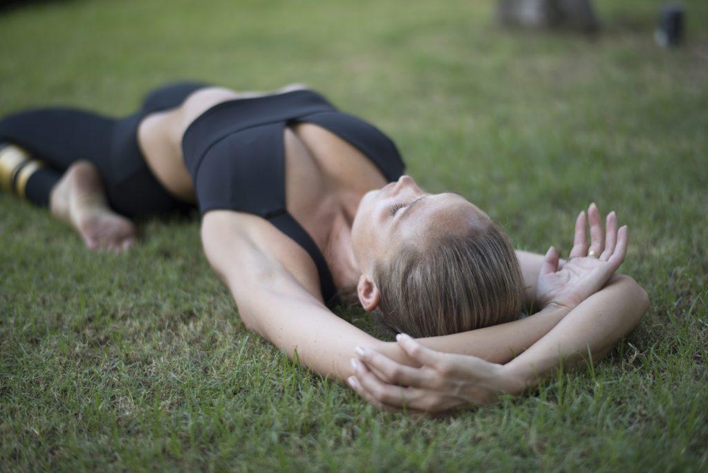 Yoga For Flexibility—Reclining Hero pose.